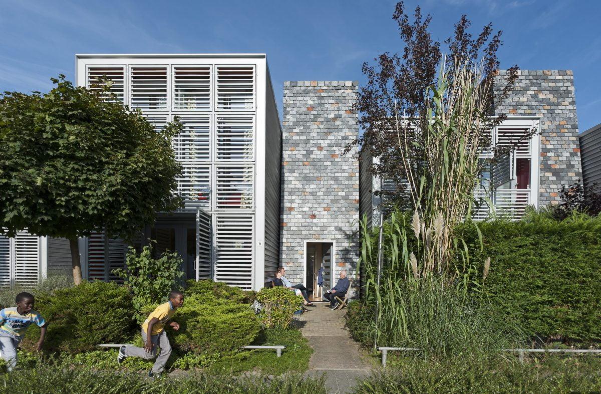 Marlies Rohmer, Almere NL, experimental housing, slate-clad 'boiler houses' the fatasy Almere, aluminium, slates
