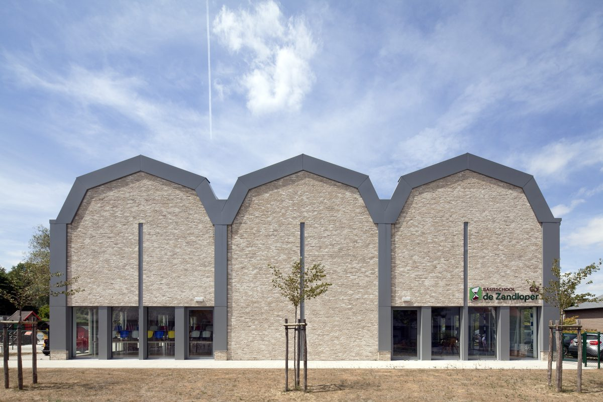 Marlies Rohmer School Zomergem, Belgium, primary education, brick, grandstand stairs, sculpture, color, arched, three arches