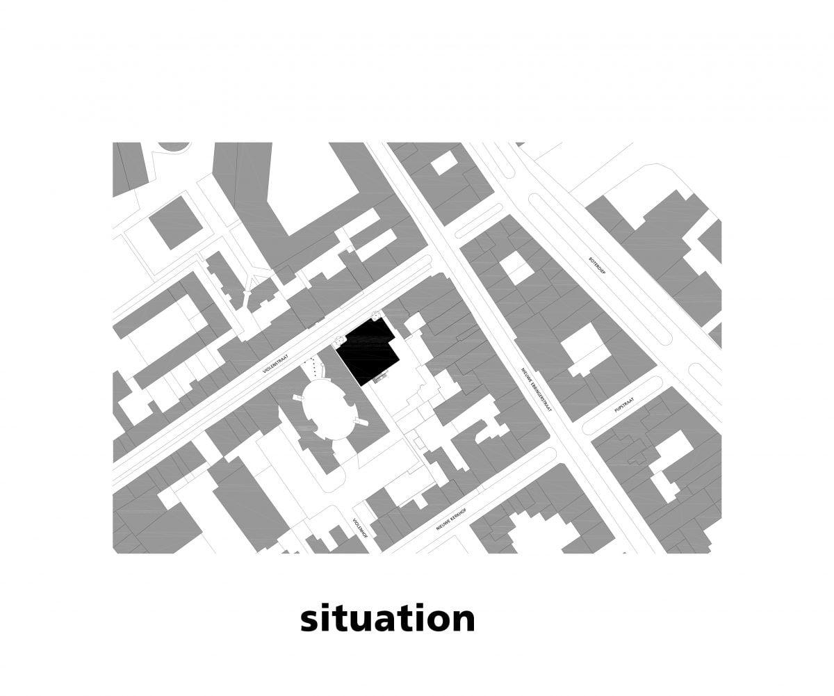 Marlies Rohmer, stacked gyms, sports tower, Violenstraat Groningen, wavy masonry, bench, indirect daylight, night scene