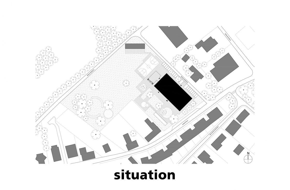 Marlies Rohmer School, Zomergem, België, basisonderwijs, baksteen, tribune trap, sculptuur, kleur, getoogd, drie bogen