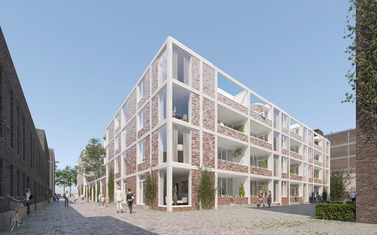 Marlies Rohmer Sphinx terrain Maastricht NL, Miller, urban residential building, court, garden wall, gradual masonry, courtyard, urban residential ensemble, Industrial, green