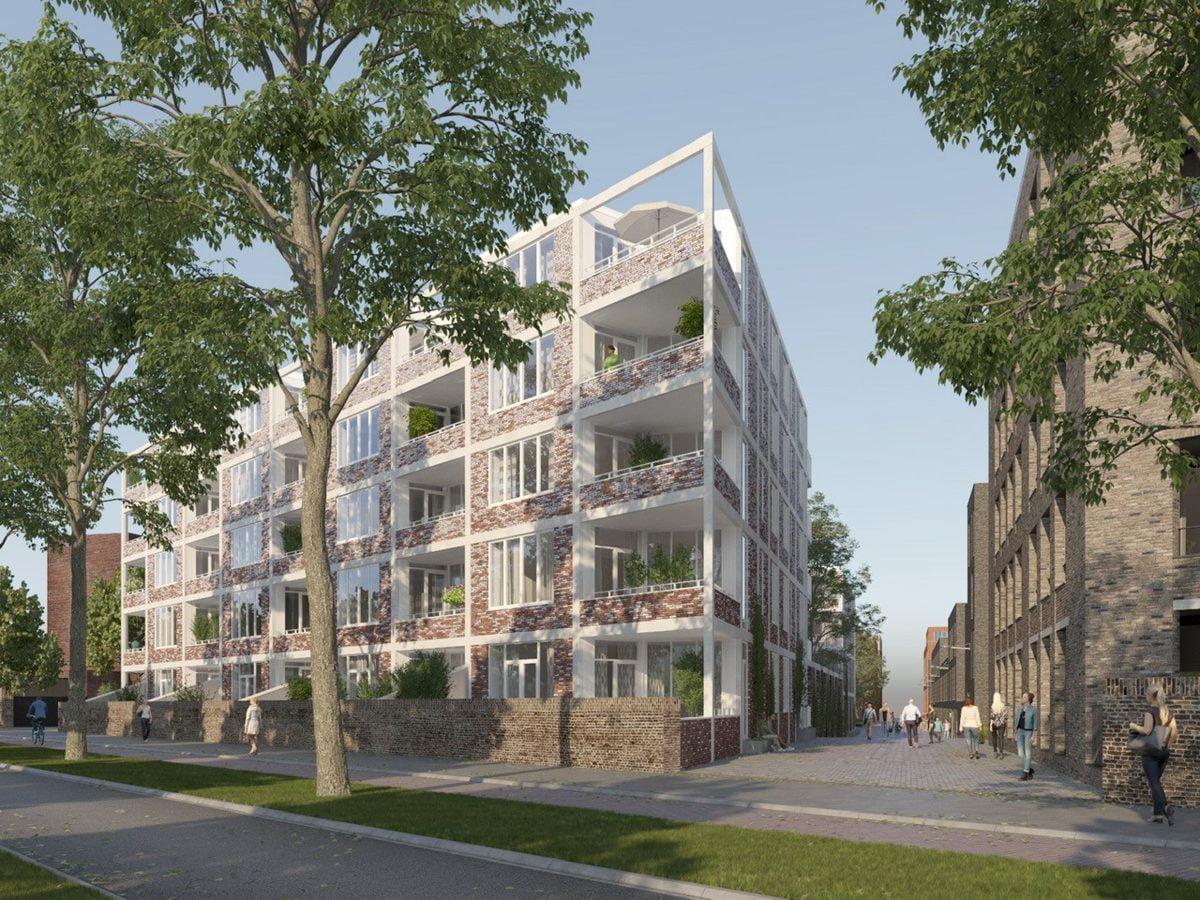Marlies Rohmer Sphinx Terrein Maastricht, Miller, Stedelijke woongebouw, hof, tuinmuur, verlopend metselwerk, binnentuin, stedelijk woonensemble, industrieel, groen